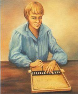 Desenho de Louis Braille a ler e escrever numa pauta Braille