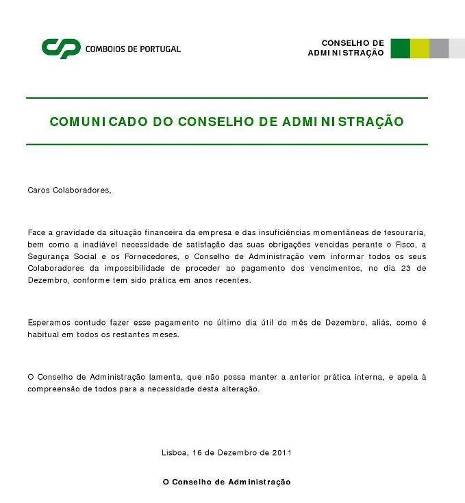 CP: empresa falida que não paga ordenados em Dezembro