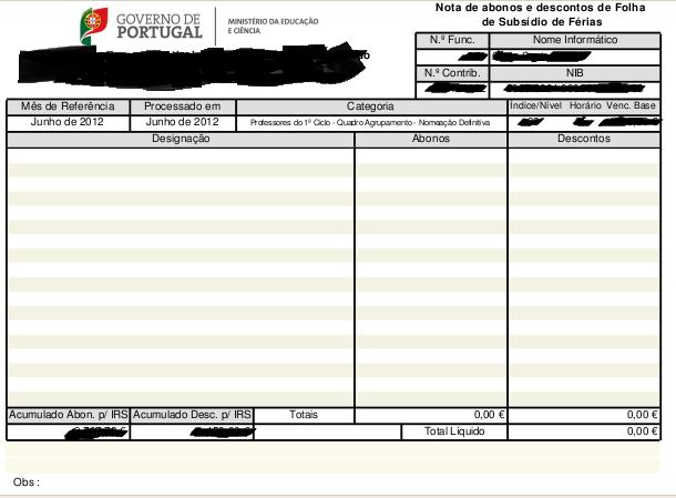 Funcionários Públicos recebem recibo do subsídio de férias... com 0EUR