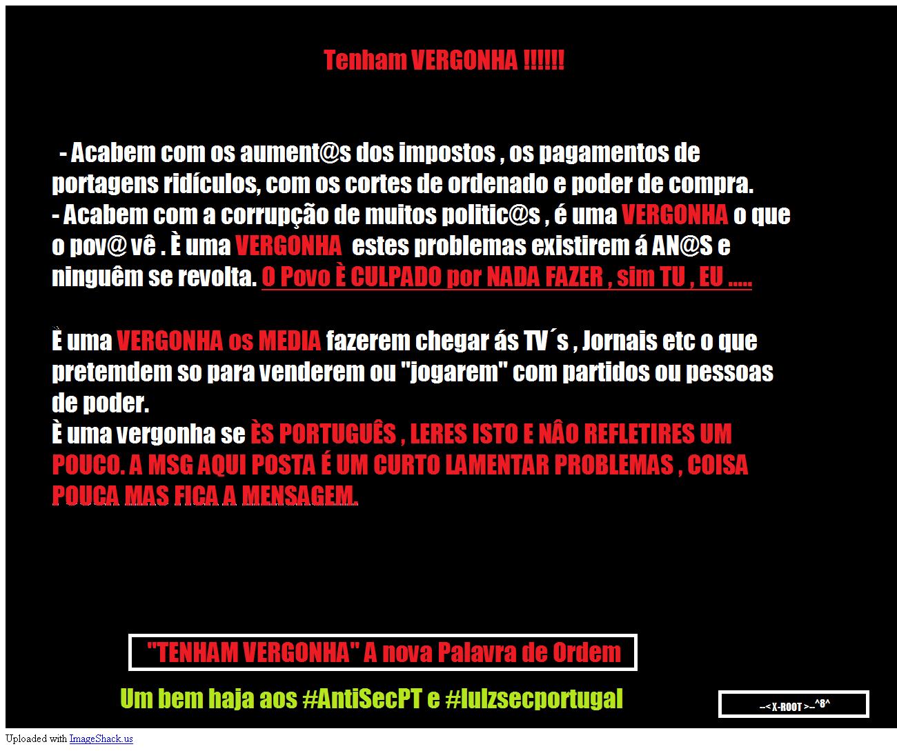 172 sites com deface pelo grupo AntiSecPT